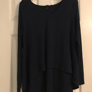 White House Black Market Navy Blue Blouse